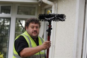 window cleaning using water fed pole