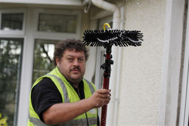window cleaner window cleaning using water fed pole