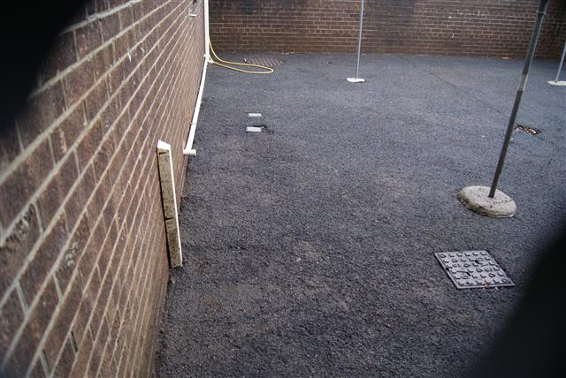 Pressure washed courtyard