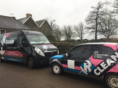 Company van and nissan micra displaying the RClean Wales branding